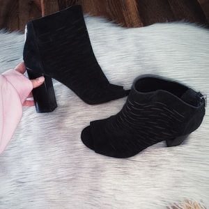 1. State Laser Cut Suede Black Open Toe Booties